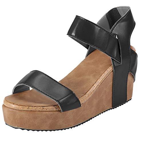 Women's Wedges Sandals Summer High Platform Elastic Band Sandal Casual Open Toe Slingback Ankle Strap Shoes (Black, US:8)