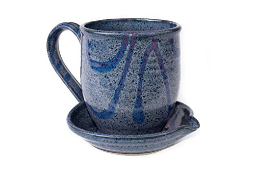 Midnight Sun Pottery Ceramic Bacon Cooker - Black (Blue with Raspberry)