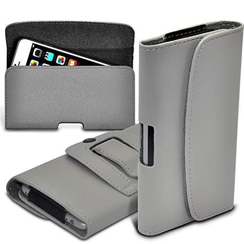ONX3 Grey Horizontal Pouch Faux Leather Belt Holster Mobile Phone Pouch Case Cover With Magnetic Closure Compatible with…