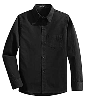 Spring&Gege Boys' Long Sleeve Solid Formal Cotton Twill Dress Shirts Black 7-8 Years
