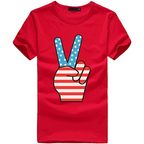 Sanyyanlsy Women's Plus Size Cute Independence Day Stars and Stripes Short Sleeve O-Neck T-Short Blouse Tank Tops Vest Red