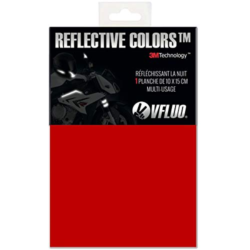(VFLUO 3M REFLECTIVE COLORS, Universal adhesive DIY kit for Helmet/Motorcycle/Scooter/Bike, 3M Technology, 10 x 15 cm sheet, Ruby red)