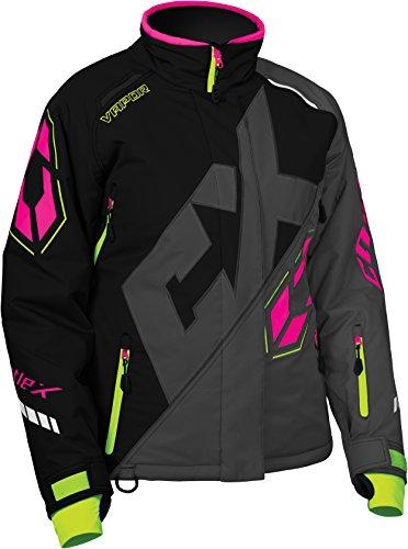 Castle X Vapor Womens Snowmobile Jacket - Black/Dark Gray/Pink Glo (LRG)