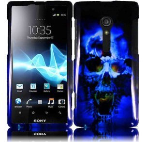 For Sony Ericsson Xperia Ion LT28i LT28at Hard Design Cover Case Blue Skull + 2X Screen Protectors + one Mini Stylus Pen (3 items combo)