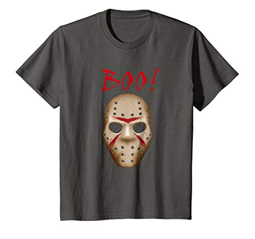 Kids Boo Shirt, Halloween Costume, Jason Mask Shirt 10 Asphalt