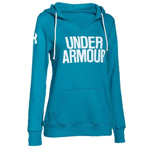 (Under Armour Women's UA Fleece Wordmark Hoodie, Pacific/White, XS (US 0-2))