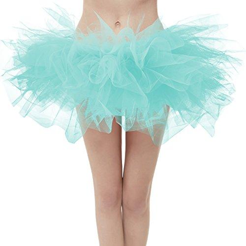 Dresstore Women's Vintage 5 Layered Tulle Tutu Puffy Ballet Bubble Skirt Mint Plus ()