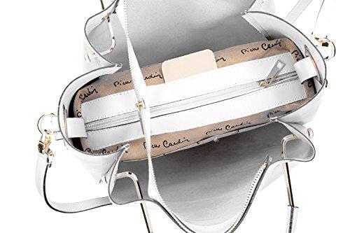 Borsa donna a mano con tracolla PIERRE CARDIN bianco pelle Made in Italy VN1450