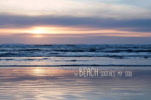 Soothing Beach Sunset Photography Available with or without Typography Pastel Ocean Wall Art Relaxing Home Decor Unframed Minimalist Photographic Print 5x7 8x10 8x12 11x14 12x18 16x20 16x24 20x30 ()