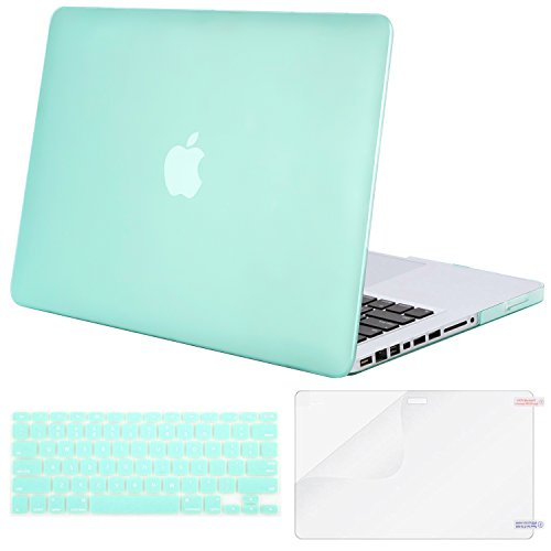 MOSISO Plastic Hard Shell Case & Keyboard Cover & Screen Protector Only Compatible Old MacBook Pro 13 Inch (A1278 CD-ROM), Release Early 2012/2011/2010/2009/2008, Mint Green