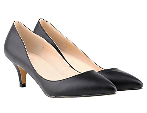 Women's Pointed Closed Toe Slip On Kitten Low Heel Dress Pumps Black Soft Pu NGQh3QvJ
