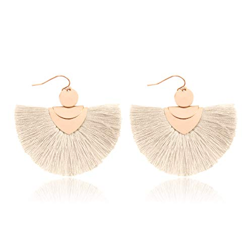 RIAH FASHION Bohemian Fan Tassel Drop Earrings - Embellished Thread Fringe Statement Round Half Circle, Clover, Teardrop Leatherette Dangle Earrings (Bohemian Fan Tassel - Ivory)