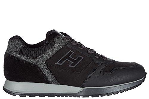 Hogan Herenschoenen Mannen Suède Sneakers Schoenen H321 H Kudde Zwart