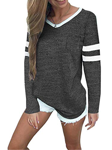 (Famulily Womens Baseball Tshirt Long Sleeve Pockets Front Colorblock V Neck Tee Shirt Blouse Charcoal M)