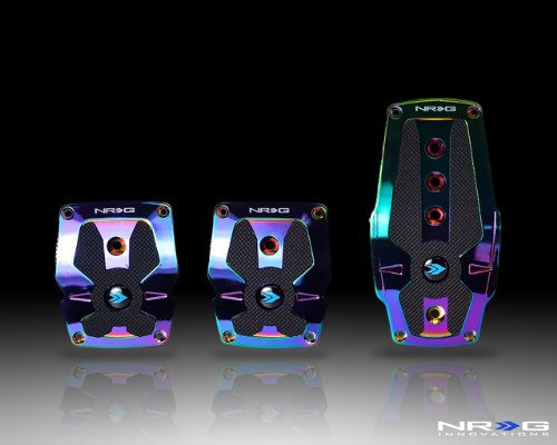 NRG Innovations PDL-200MC Neochrome Aluminum Sport Pedal with Black Rubber Inserts MT