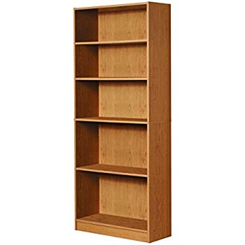 Mylex Five Shelf Bookcase Three Adjustable Shelves 1163 X 2963 715 Inches Oak Assembly Required 43070
