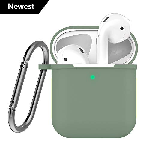 - Airpods 2 Silicone Case Cover Compatible Apple Airpods 2 & 1 [Front LED Visible] (Olive Green)