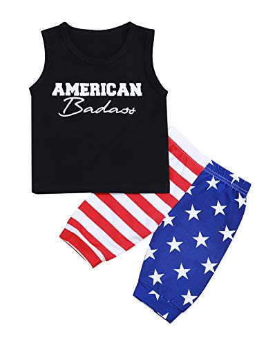 4th of July Baby Boy Outfits American Badass Vest Tops + Stars Stripes Shorts Newborn Infant Toddler Boy Independence Day Outfit Set