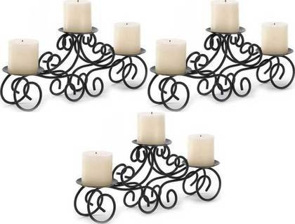 Candle Holder 3 Tuscan Scroll Candelabra 3 Pillar Wedding Table Centerpieces