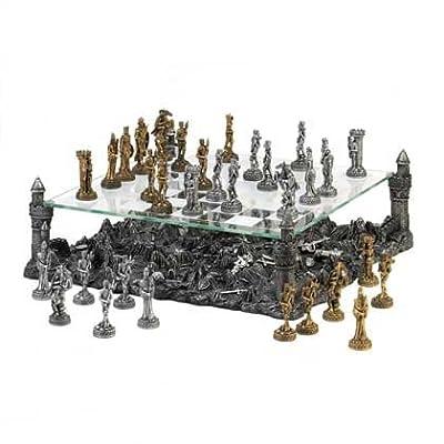 Chess Set, Dark Battleground Modern Medieval War Large Chess Set