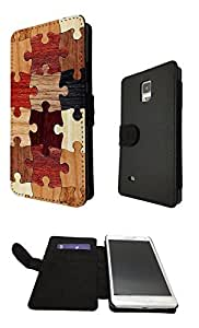 Cool Funky Wooden puzzle Print Look Design Fashion Trend Credit Card Holder Purse Wallet Book Style Tpu Leather Flip Pouch Case For All Samsung Galaxy S4 Mini / Samsung Galaxy S5 / Samsung Galaxy S5 Mini / Samsung Galaxy note 3 / Samsung Galaxy note 4 Full Case Flip TPU Leather Stand Cover - Choose your Phone model from the drop box Below (Samsung Galaxy Note 4)