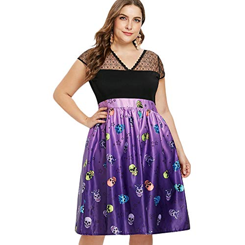 KCatsy Plus Size Mesh Panel Halloween Dress Purple]()