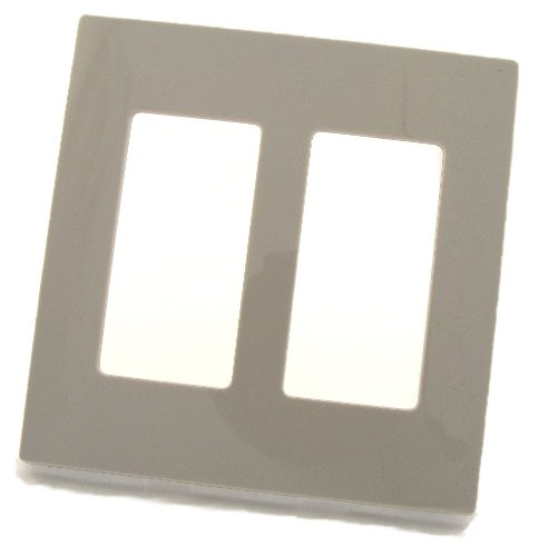 (Leviton 80309-SGY 2-Gang Decora Plus Wallplate Screwless Snap-On Mount, Gray)