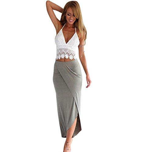 (Womens Dress Bodycon Blackless Bandage Two Piece Crop Tops and Skirt Dress Set Zulmaliu (Gray, M))