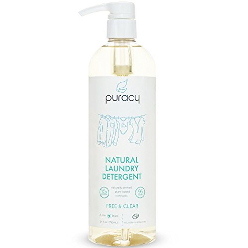 Puracy Natural Liquid Laundry Detergent, Sulfate-Free, THE BEST Hypoallergenic Clothing Soap, Powered by Plant-Based Enzymes, Free and Clear, 96 Loads, 24 Ounce Pump Bottle