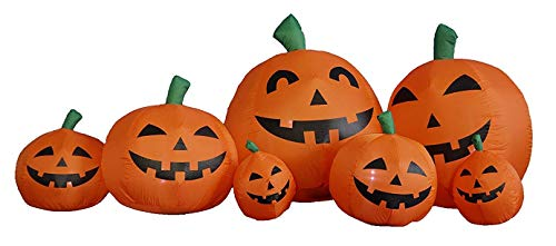 M and H Hong Kong M&H 7 Foot Long 7 Pumpkins Outdoor Halloween Inflatable Yard Art Decoration