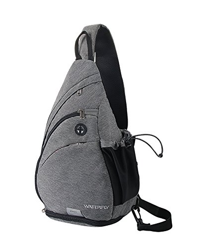 Price comparison product image WATERFLY Sling Backpack, Sling Bag Small Crossbody Daypack Casual Canvas Backpack Chest Bag Rucksack for Men & Women Outdoor Cycling Hiking Travel