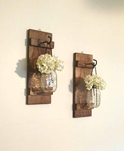 Hanging Mason Jar Wall Sconces Set of 2 Rustic Wall Decor with Black Chain and Lid
