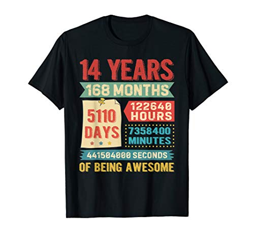 Funny 14 Years Old 168 Months Shirt 14th Birthday Gift Ideas (Gift Ideas For 14 Yr Old Daughter)