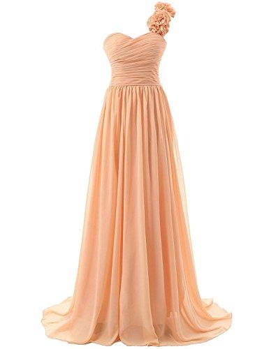 da Donna d'onore spalla Lungo Arancione JAEDEN Abiti Vestito damigella Una da ballo Chiffon Abito festa 7UXnUwqd