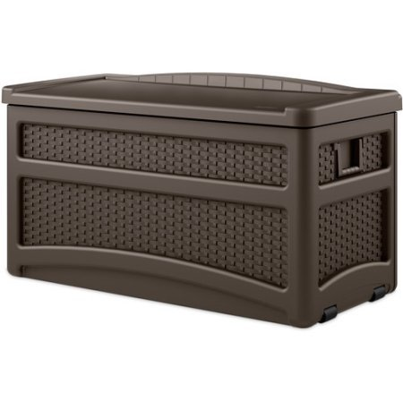 73 Gallon Java Resin Wicker Storage Seat Deck Box with Wheels, Handles and Wheels for Easy Mobility, Weather-Resistant, Durable Resin Construction by Jaxterrific