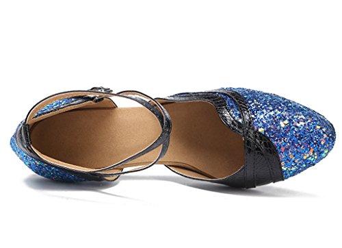 Ballrom Danses Ferm Meijili Danse Paillettes Bleu Chaussures Soire Tango Salsa Mariage Latine De Bout Femmes Moderne wFqv1