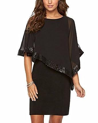 Gikim Womens Work Chiffon Dress Cocktail Mini Bodycon Sequin Dresses Black S