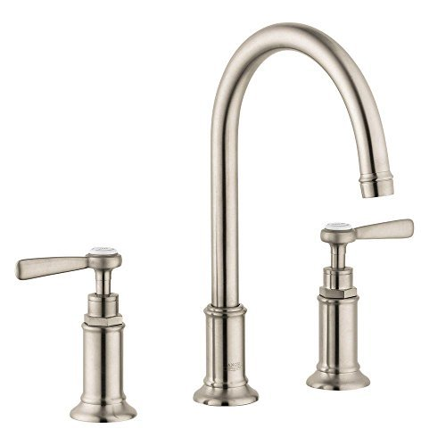 Hansgrohe 16514821 Axor Montreux Widespread Faucet, with Lever Handle, Brushed Nickel - Axor Montreux Lavatory