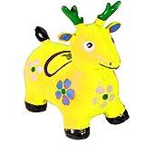 Kemket Yellow Deer Hopper - (Inflatable Space Hopper, Jumping Deer, Ride-on Bouncy Animal)
