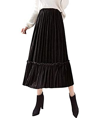 Omoone Women's High Elastic Waist Velvet Midi Long Pleated Swing Falbala Skirt