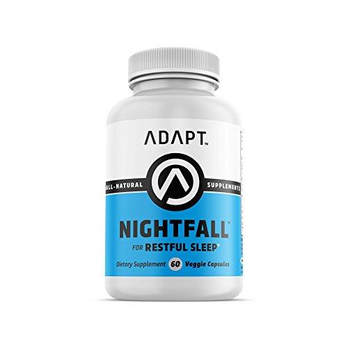 Adapt Nightfall   Natural Sleep Aid   Formulated for Non-Habit Forming, Deep, Restful Sleep   Magnesium, GABA, Chamomile Extract, Valerian Root & More   60 Gluten Free, Veggie Capsules