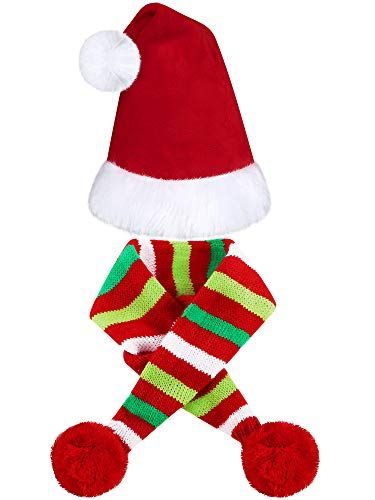 2 Pieces Christmas Pet Dog Santa Hat Pet Santa Scarf for Christmas Pet Dogs Cats Dressing Up Supplies (S)