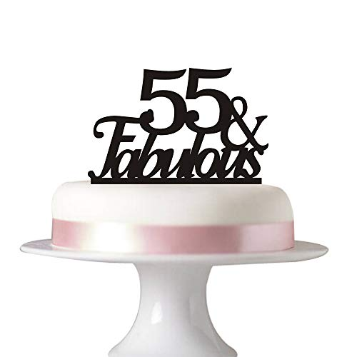 55 Fabulous Cake Topper For 55th Birthday Party Decorations Acrylic Black Succris