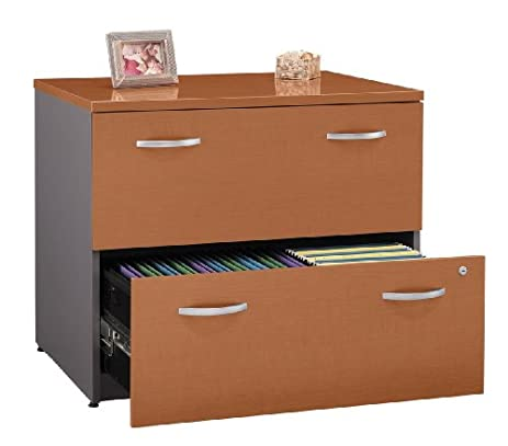 Two Drawer Lateral File Cabinet In Auburn Maple   Series C