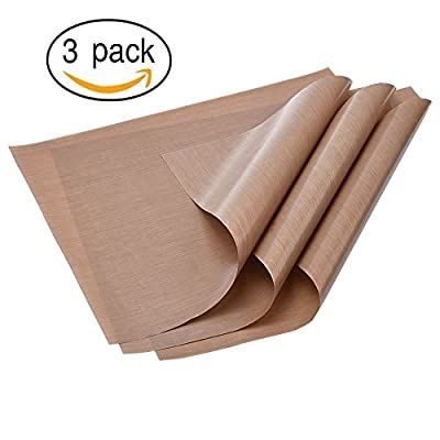 "3-Pack Teflon Sheets 16"" x 20"" for Heat Press Transfers for Arts, Craft Sheet, Baking Non Stick BPA and PFOA Free Protects Iron and Work Area from Messy Glue, Inks or Paint"
