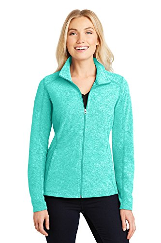 Womens Microfleece Full Zip Jacket - Port Authority Ladies Heather Microfleece Full-Zip Jacket, Aqua Green Heather, Medium