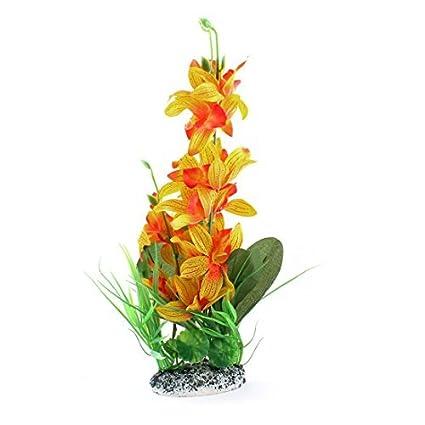Planta de acuario de plástico emulational Agua 15 pulgadas Altura Verde Amarillo