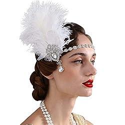 1920s Womens Ostrish Feather Crystal Headband