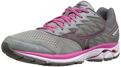 Mizuno Women's Wave Rider 20 Running Shoe, Gunmetal/Fuchsia Purple, 8 B US