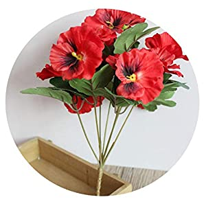 Dance to this Desk Party Ornament Hotel Pansy Fake Artificial Flowers Office Simulation Plant Table Home Wedding Bouquet Decor,Red 14
